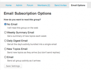 Email Options on settings page